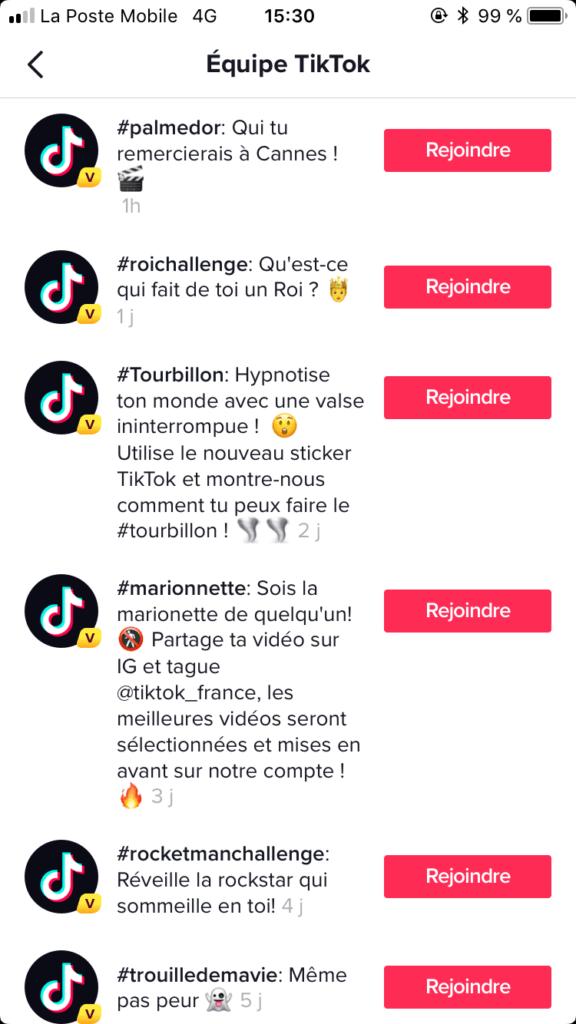 Exemple de challenges sur TikTok - Réseaux sociaux