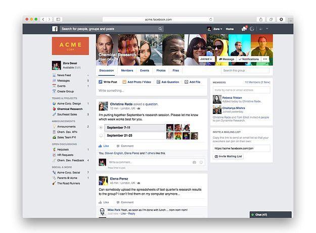 Interface facebook at work