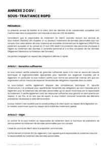 Annexe 2 CGV Nobilito - Sous-traitance RGPD